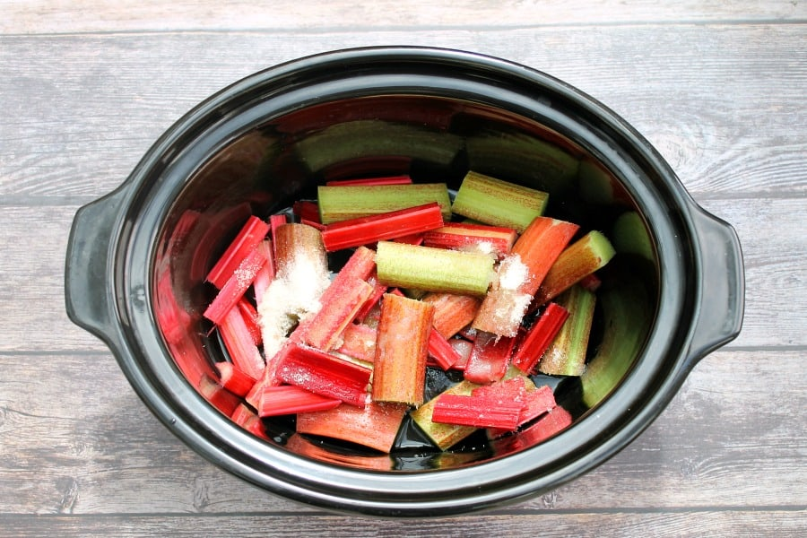 Rhubarb in the slow cooker pot