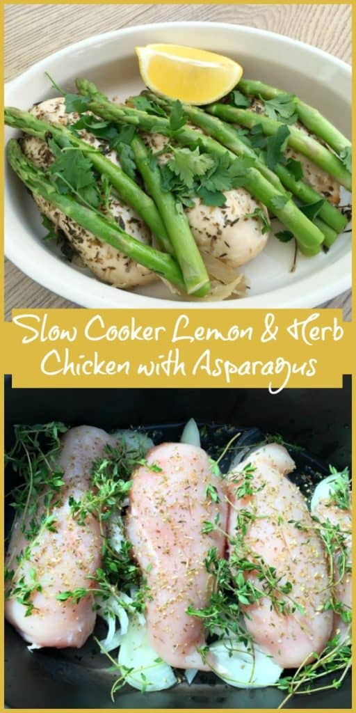 Slow Cooker Lemon & Herb Chicken with Asparagus - ideal healthy slow cooker main dish for WW freestyle or general healthy eating plans, this low carb dish is so simple to make in your slow cooker. Great for busy households where time is at a premium.