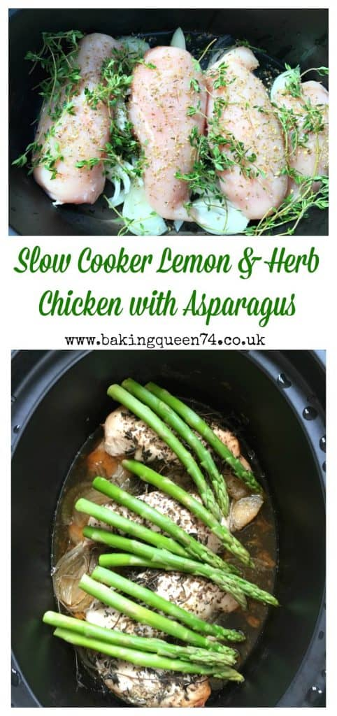 Slow Cooker Lemon and Herb Chicken with Asparagus - so easy and perfect for Spring! No need to put away your slow cooker in the warmer months