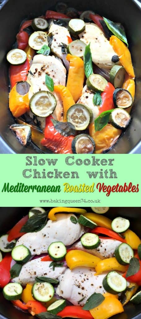 Slow Cooker Chicken with Mediterranean Roasted Vegetables - a simple slow cooker recipe, perfect for the summer months, and ideal for Weight Watchers Smartpoints or Slimming World too