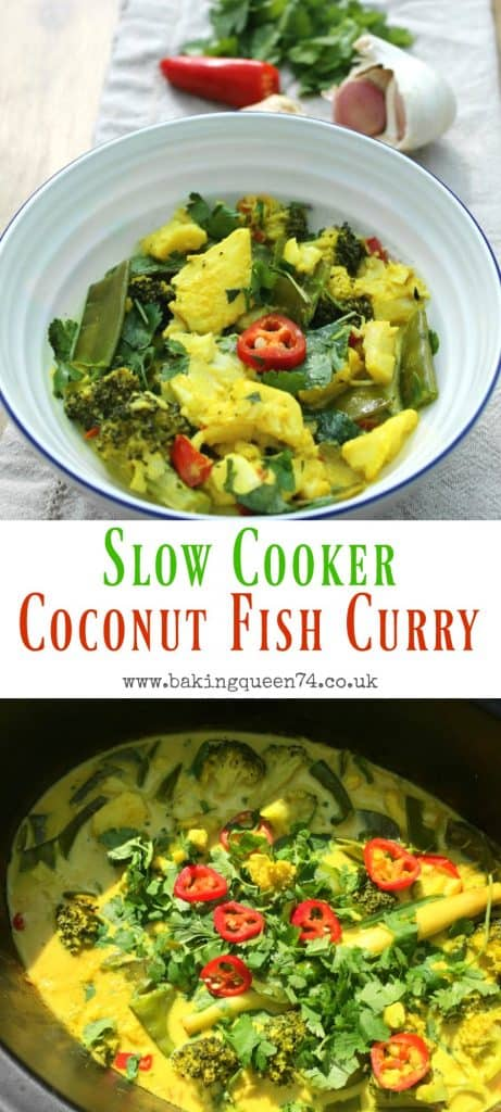 Slow cooker coconut fish curry - an easy to make dish, full of flavour, using your slow cooker