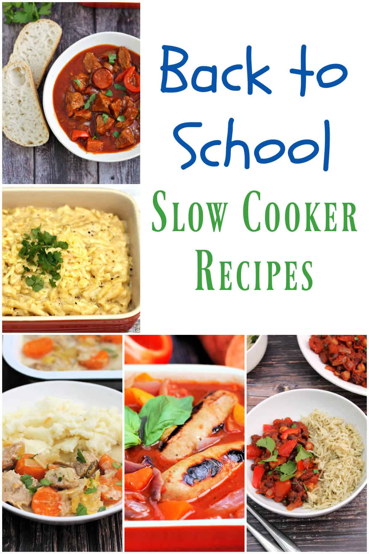 Collage of back to school slow cooker recipes.