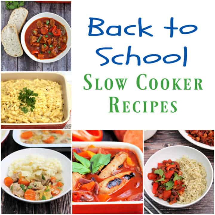 """Collage of 5 back to school slow cooker dishes with text overlay """"Back to school slow cooker recipes""""."""