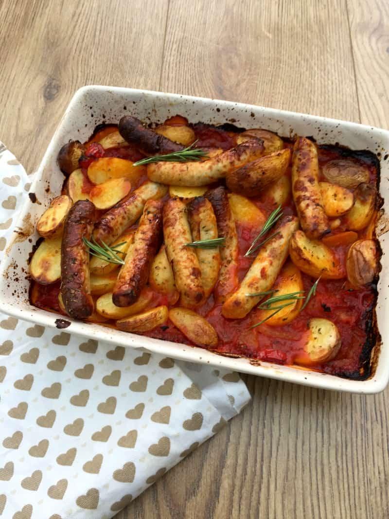 Healthy sausage and potato bake