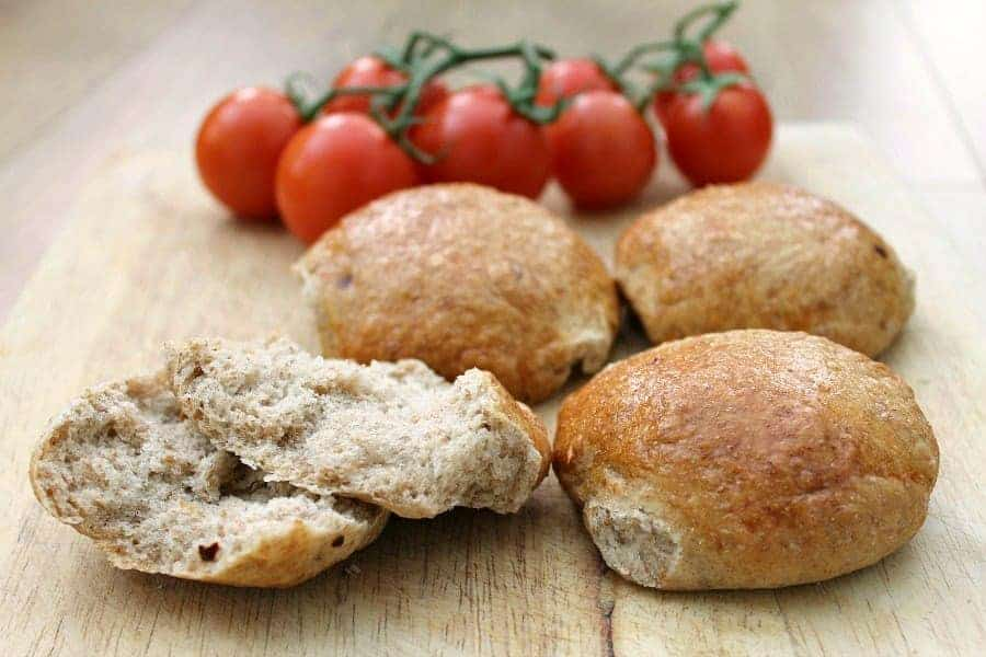 Wholemeal chilli bread rolls, close up