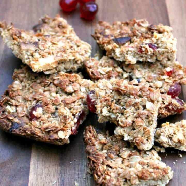 Cherry almond flapjack slices