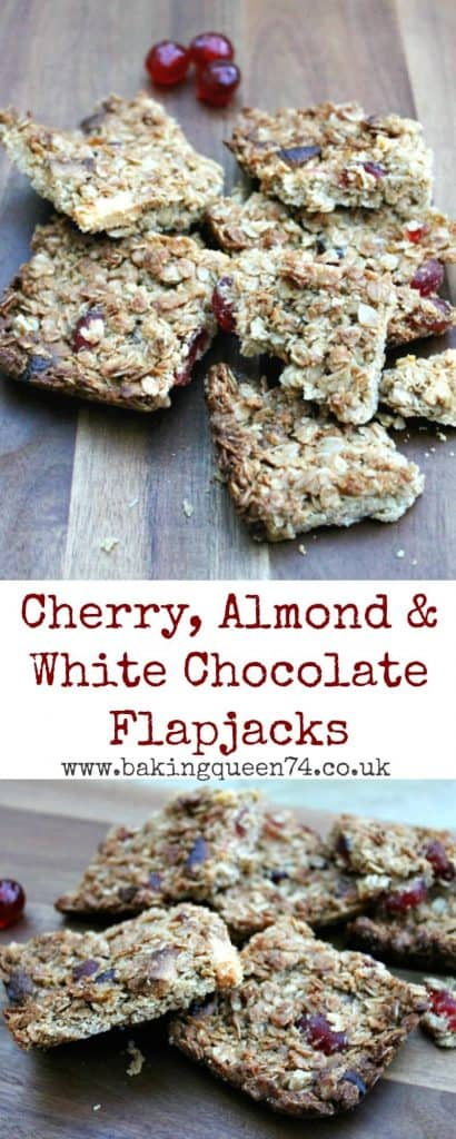 Cherry, almond and white chocolate flapjacks - a delicious and easy bake that kids will love