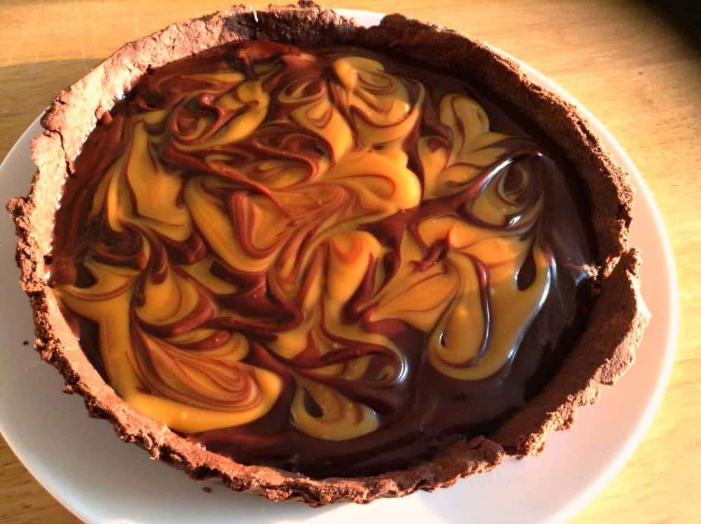 Chocolate and salted caramel tart close-up