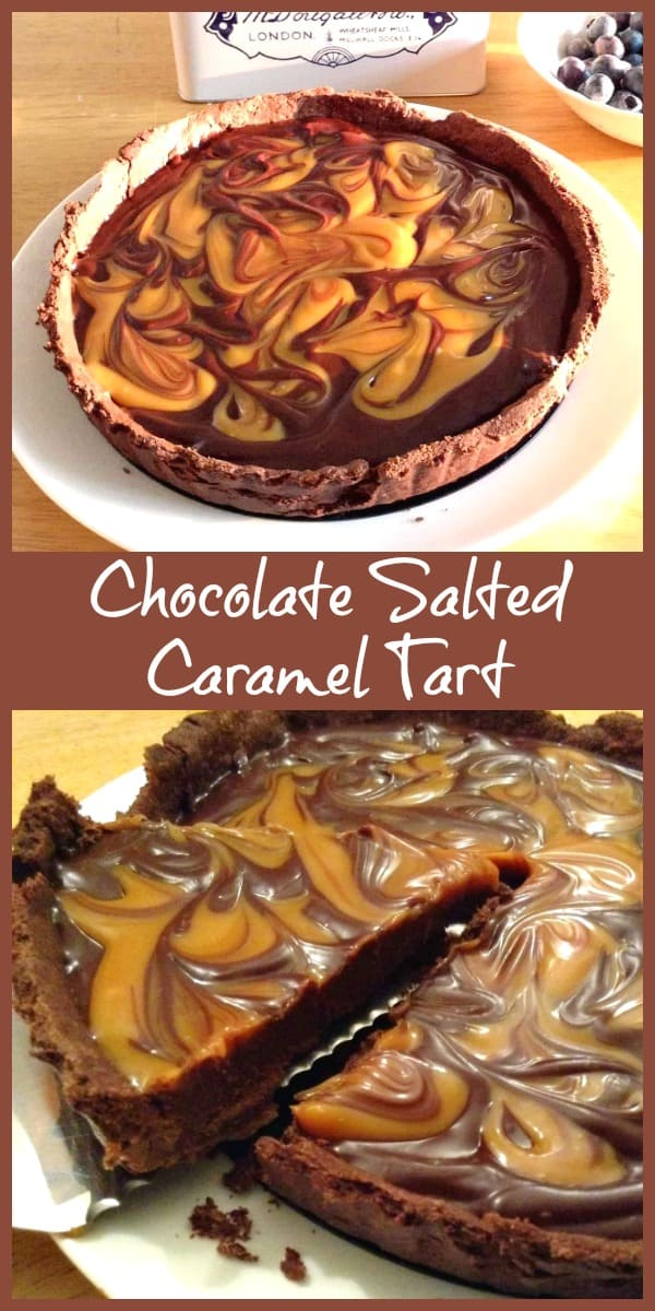 Chocolate salted caramel tart collage