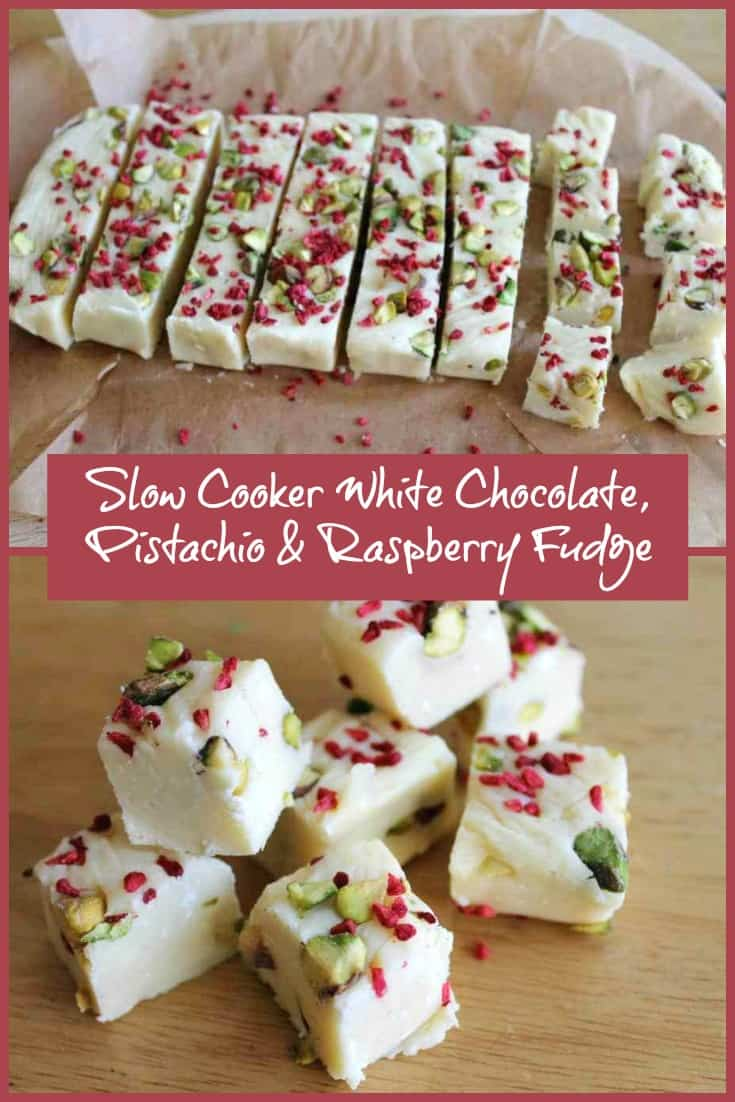 Slow Cooker White Chocolate Pistachio and Raspberry Fudge