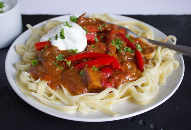Slow cooker beef brisket goulash from Tales from the Kitchen Shed