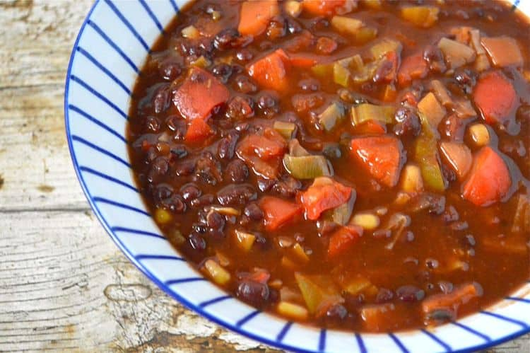 Veggie bean chilli from Tin and Thyme