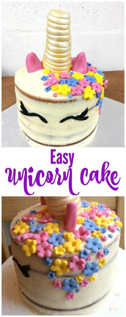 Easy unicorn cake recipe - a UK recipe for a simple unicorn cake perfect for children's birthday parties - unicorns are real!