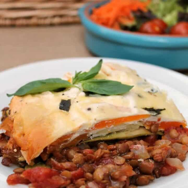 Slow Cooker Butternut Squash and Lentil Lasagne