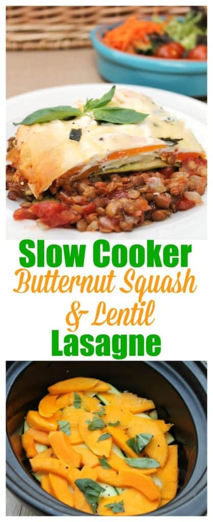Slow Cooker Butternut Squash and Lentil Lasagne, a delicious vegetarian slow cooker dish perfect for family mealtimes