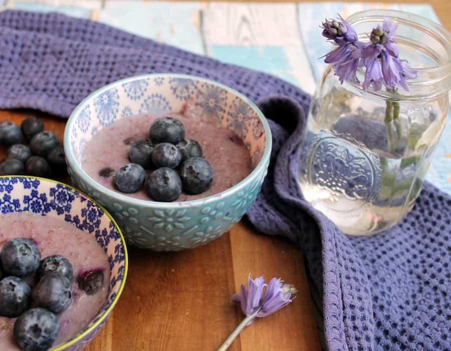 Slow Cooker Blueberry Porridge with bluebells