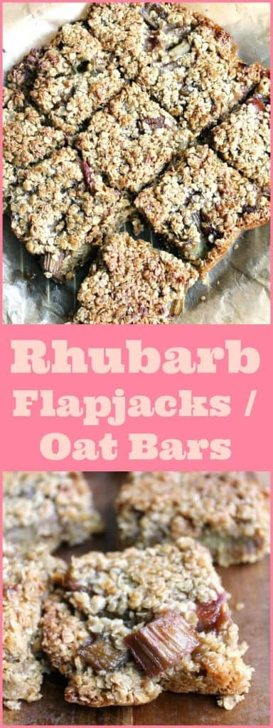 Rhubarb flapjacks (oat bars)