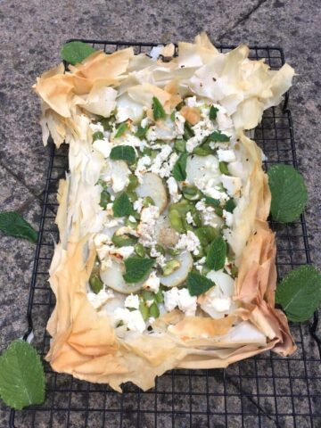 Broad bean, feta and new potato filo tart