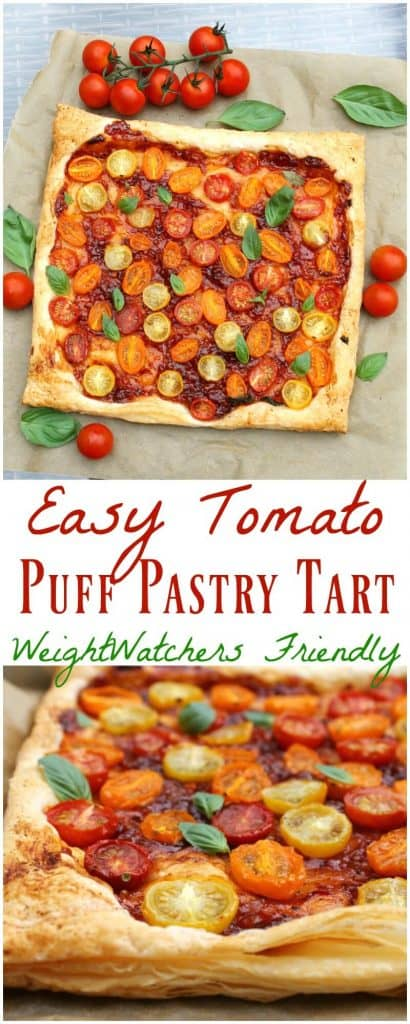 Easy Tomato Puff Pastry Tart - WeightWatchers Friendly!