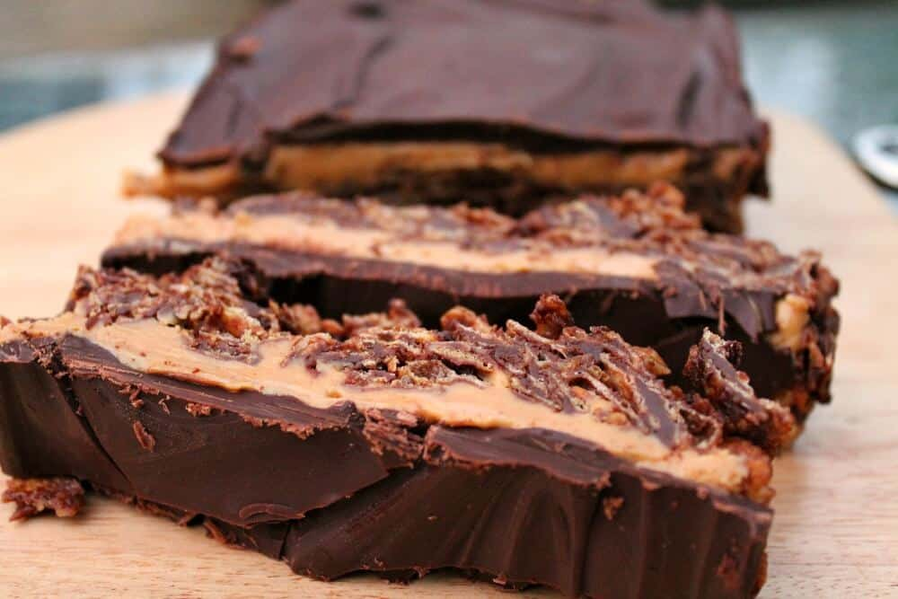 Chocolate peanut butter cornflake slice