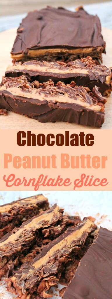 Chocolate peanut butter cornflake slice