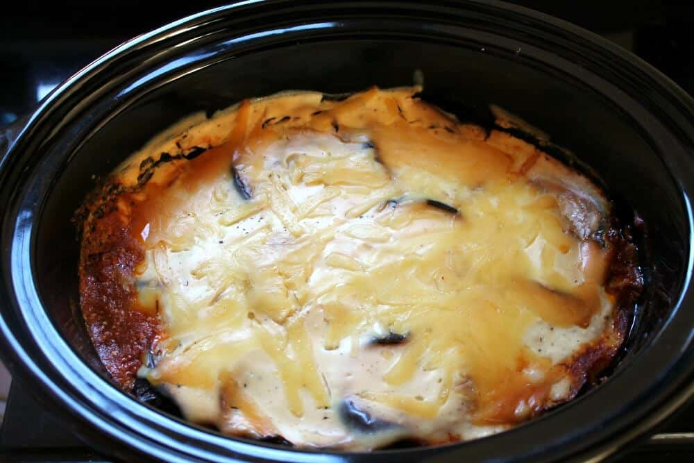Slow Cooker Moussaka - a Greek lamb and aubergine dish