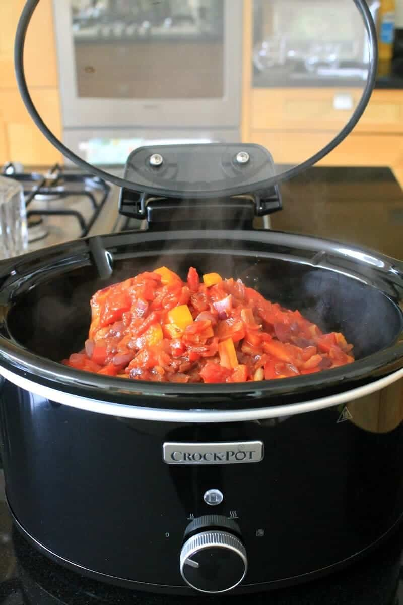 Sauce poured over the pork in the slow cooker to make paprika pork goulash