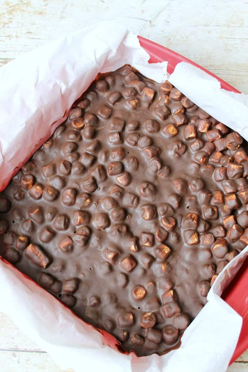 Top view of the rocky road tray when it has just set in the fridge