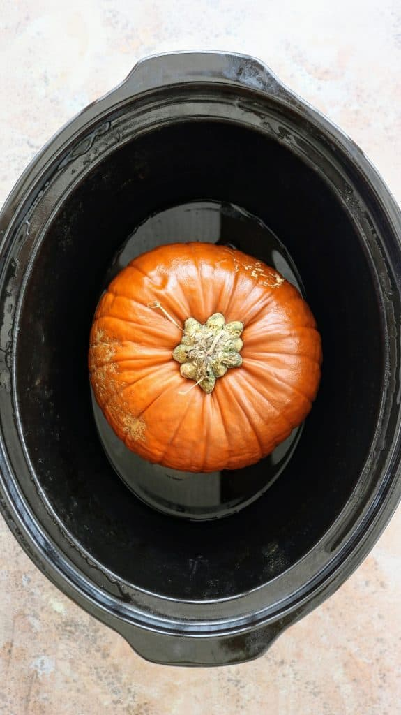 Cook a whole pumpkin in a slow cooker from Tastefully Vikkie