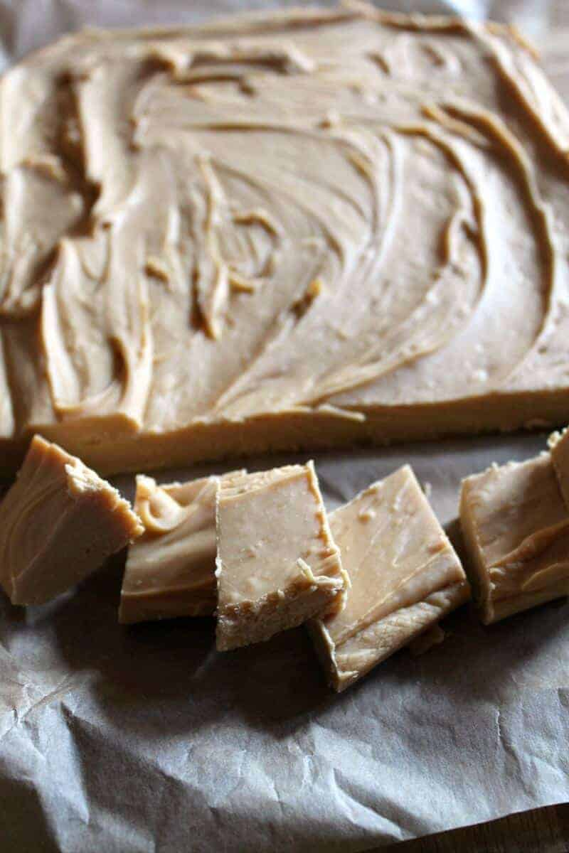 Boozy slow cooker caramel fudge closeup