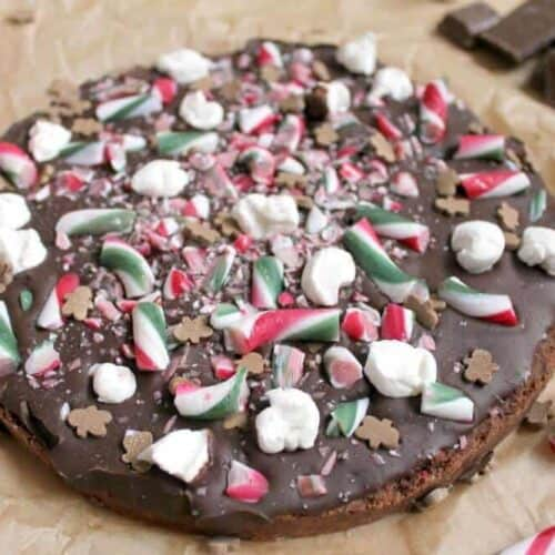 Christmas chocolate shortbread wth candy canes