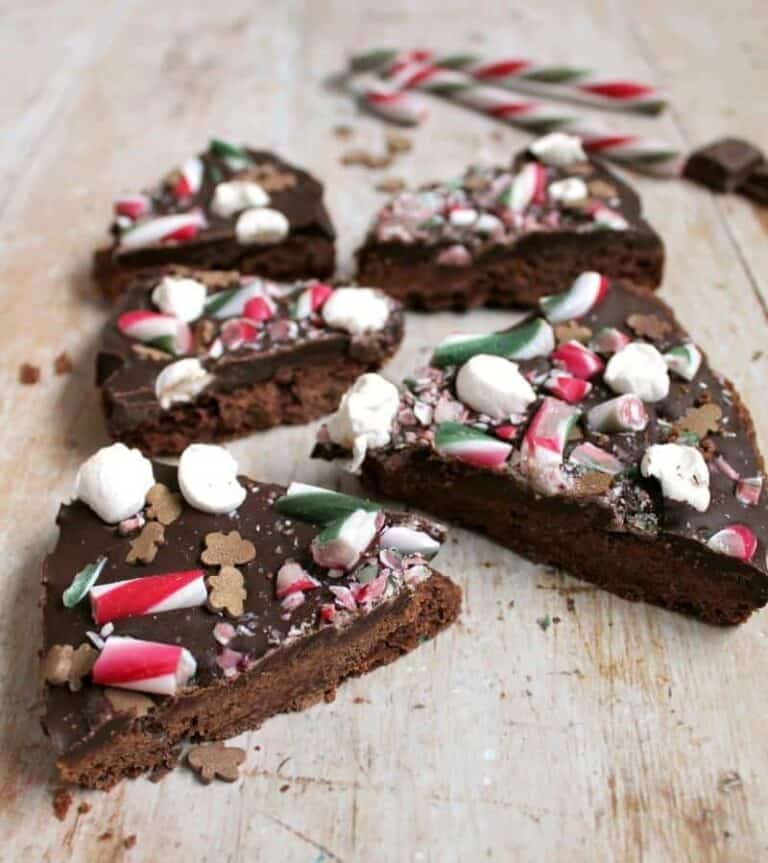 Christmas chocolate shortbread, sliced up, with candy canes