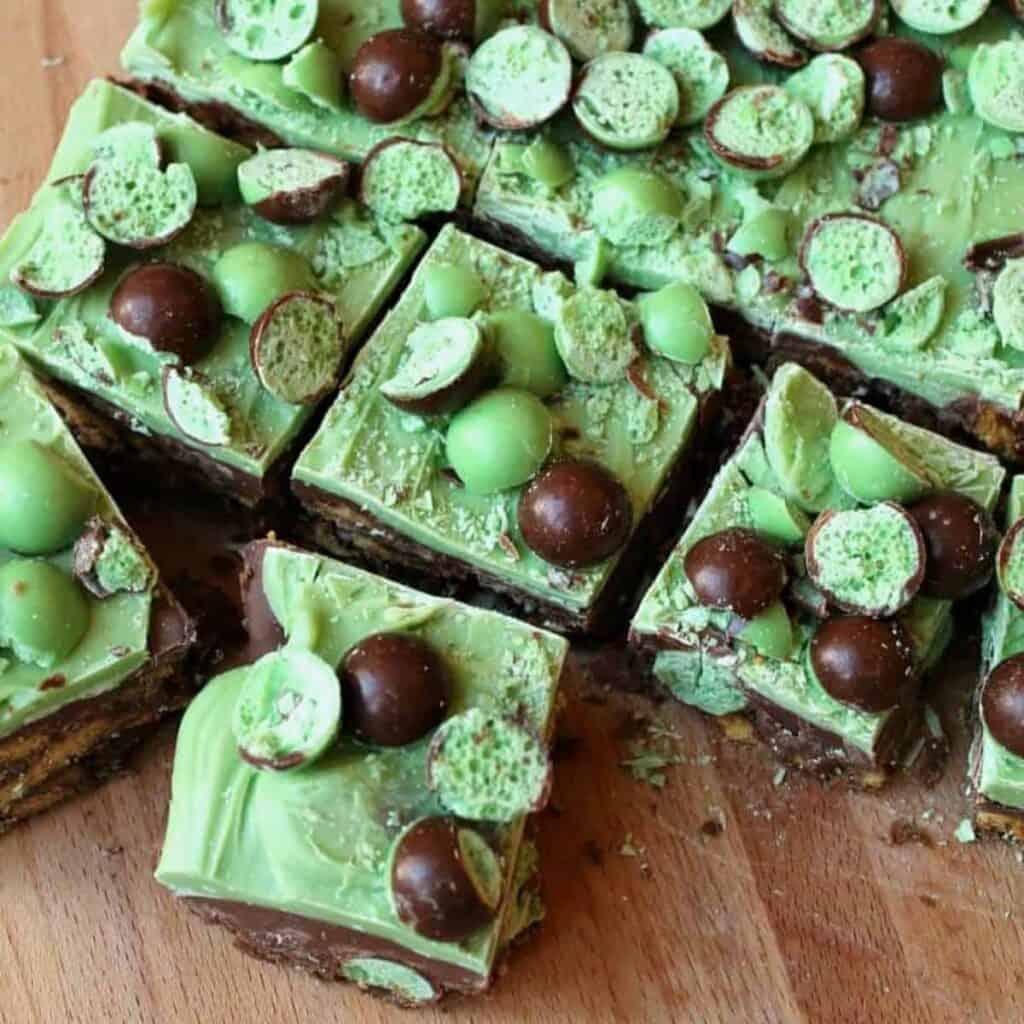 Close up of squares of mint fridge cake.