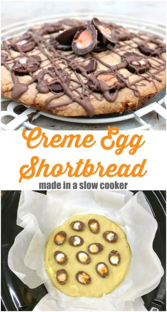 Slow Cooker Creme Egg Shortbread #crockpot #crockpotbaking #slowcooker #cadburycremeegg #easter