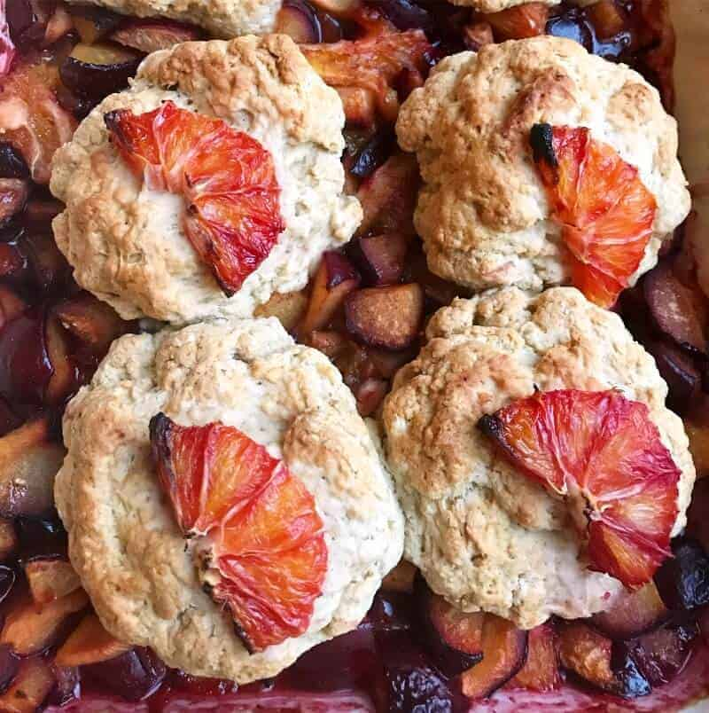 Plum and Blood Orange Cobbler