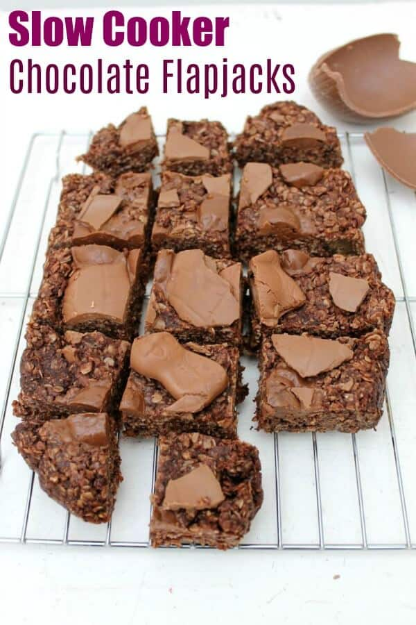 Slow Cooker Chocolate Flapjacks - make this oaty chocolate bake in your crockpot and use up those Easter chocolate eggs