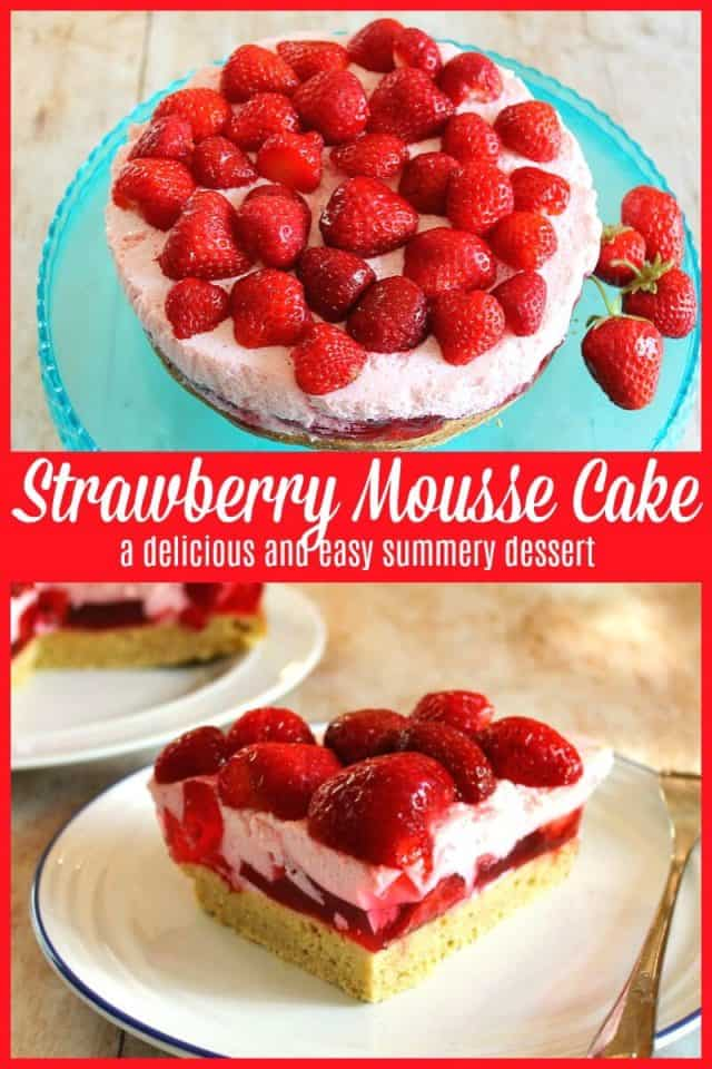 Strawberry mousse cake recipe - an amazing summery dessert with layers of jelly and strawberry mousse, and healthy too!