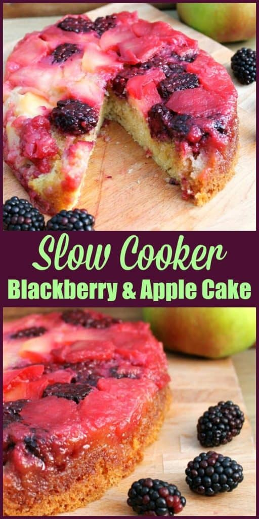 Slow Cooker Blackberry and Apple Cake - make this marvellous fall dessert in your slow cooker and enjoy the fruitful bounties of the season