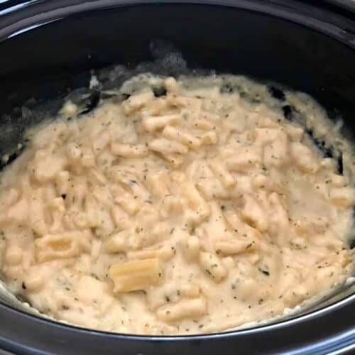 Slow cooker mac and cheese - mixed and ready to cook