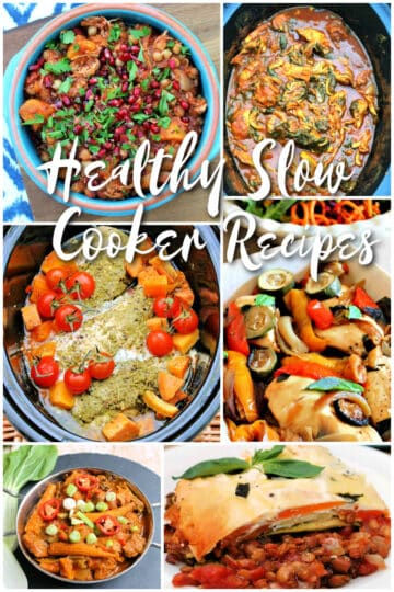 Collage of slow cooker dishes.