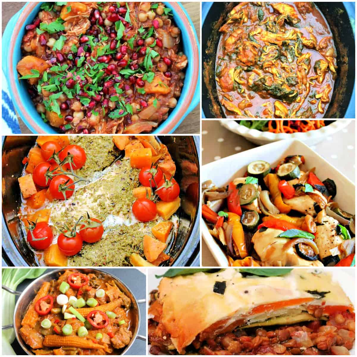 Collage of healthy slow cooker dishes.