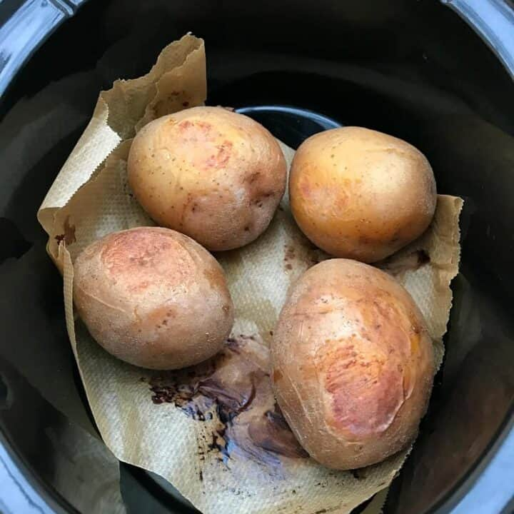 Baking a batch of baked potatoes in the slow cooker