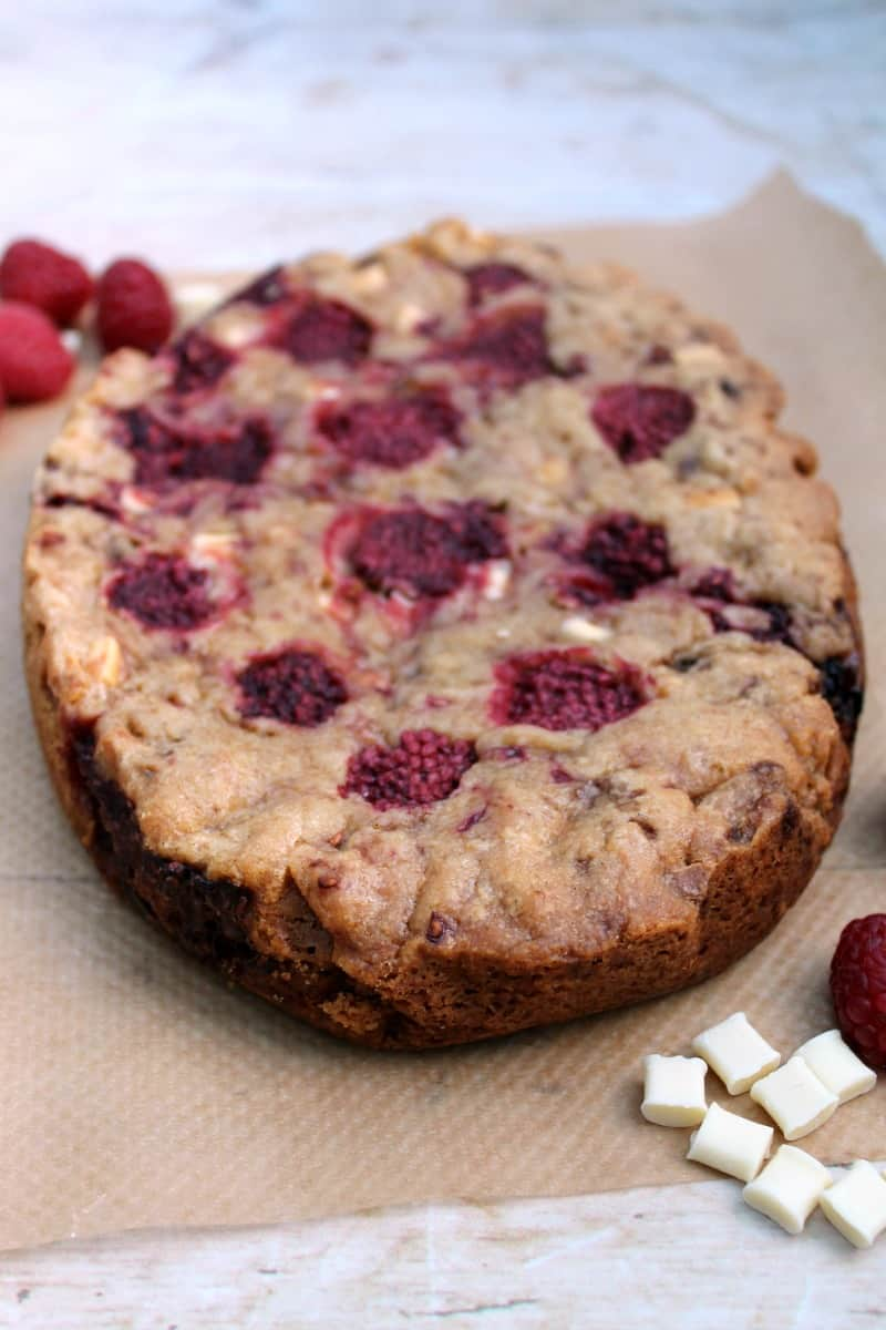 Slow Cooker Raspberry White Chocolate Cookie