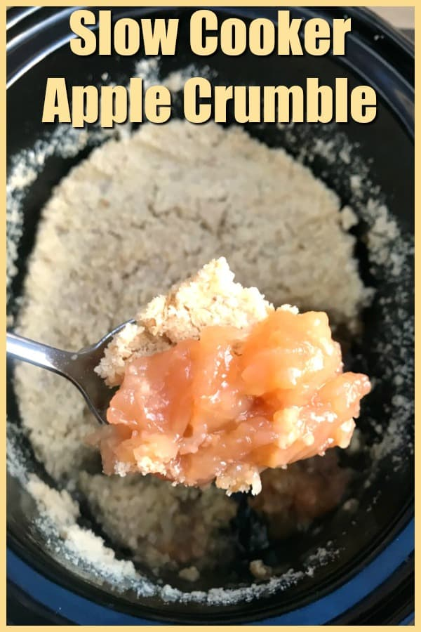 Slow cooker apple crumble collage