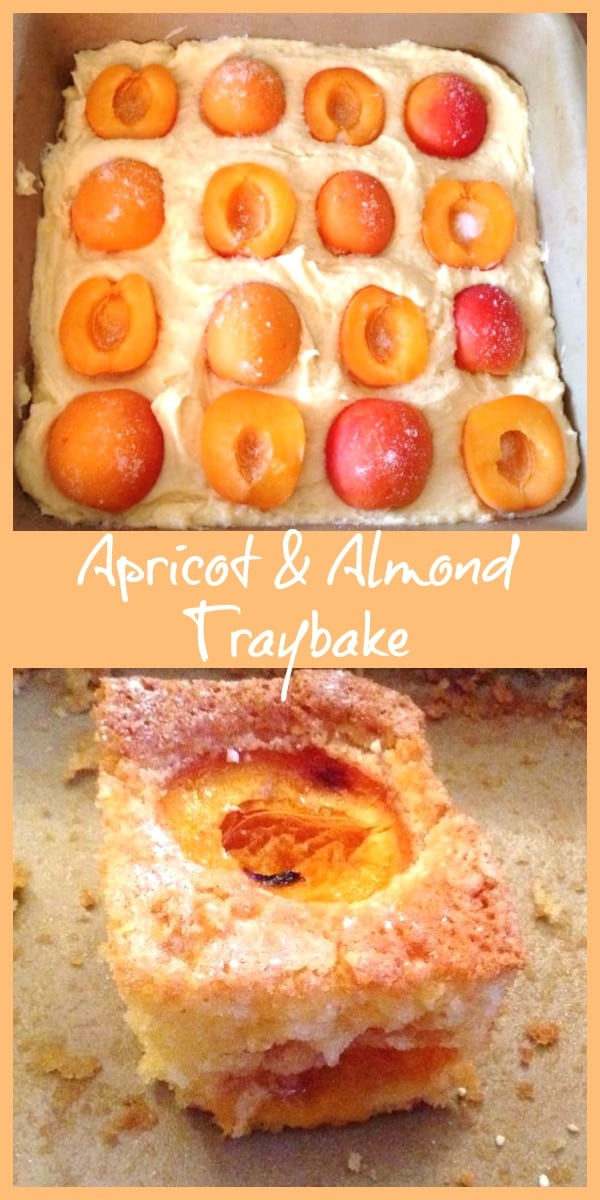 Collage of apricot and almond traybake before and after baking