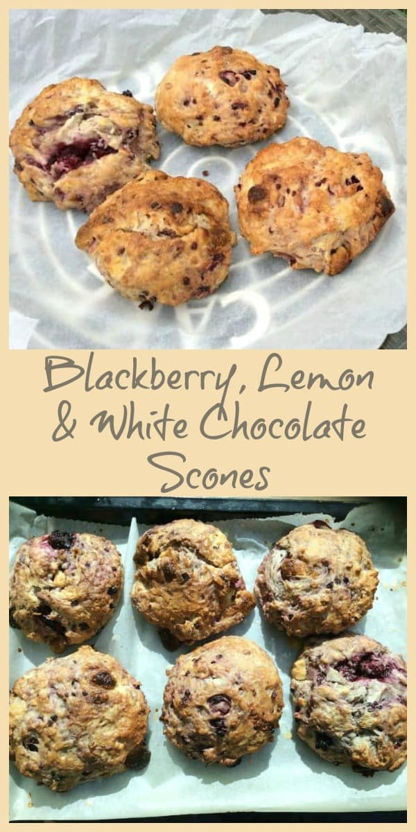 Collage of blackberry, lemon and white chocolate scones cooling on a rack