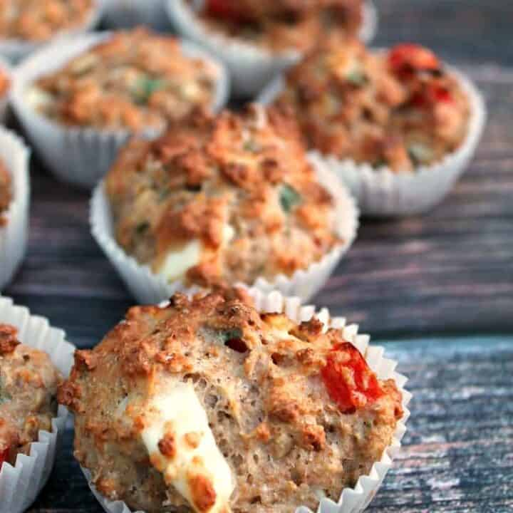 Feta and pepper savoury muffins