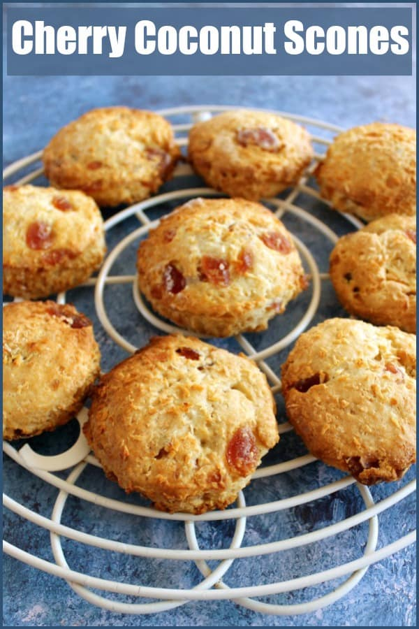Cherry coconut scones with text over image.