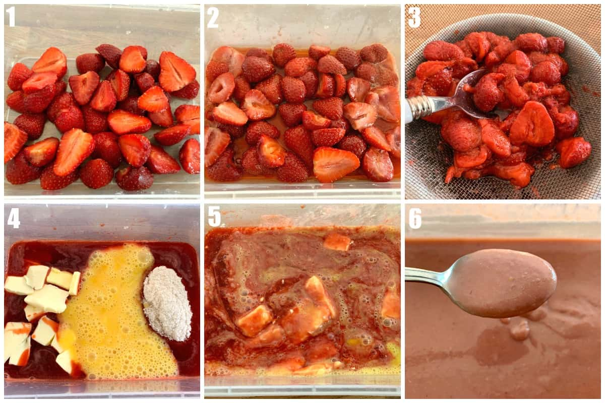 Collage of images showing steps to make strawberry curd, strawberries in a tub at various stages of the process.