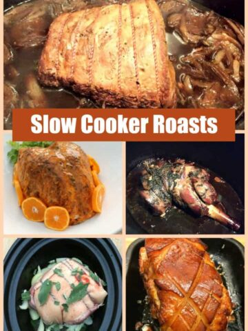Collage of roast slow cooker meals.